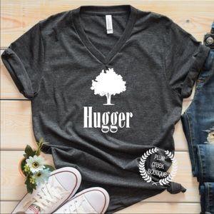 Tree Hugger TShirt NEW Gray Vneck Activist